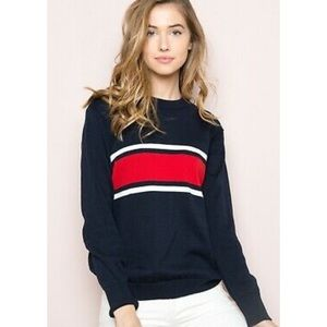 Oversized navy and red sweater